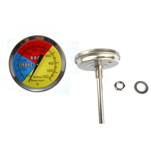 475F BBQ Charcoal Grill Smoker Pit Temperature Gauge Thermometer 2.5 Stem SS RWB