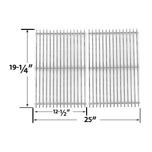 Heavy Duty Replacement Stainless Steel Cooking Grates For Brinkmann, Charmglow, Jenn-Air, Nexgrill, Perfect Glo, Turbo and Capt'n Cook Gas Grill Models, Set of 2